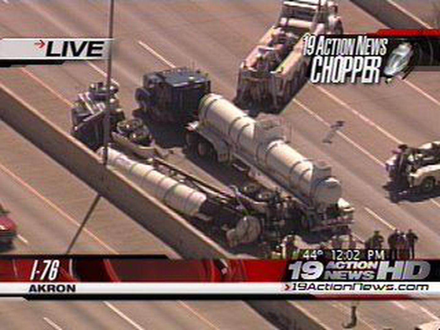 I-76 Shut Down After Tanker Truck Overturns