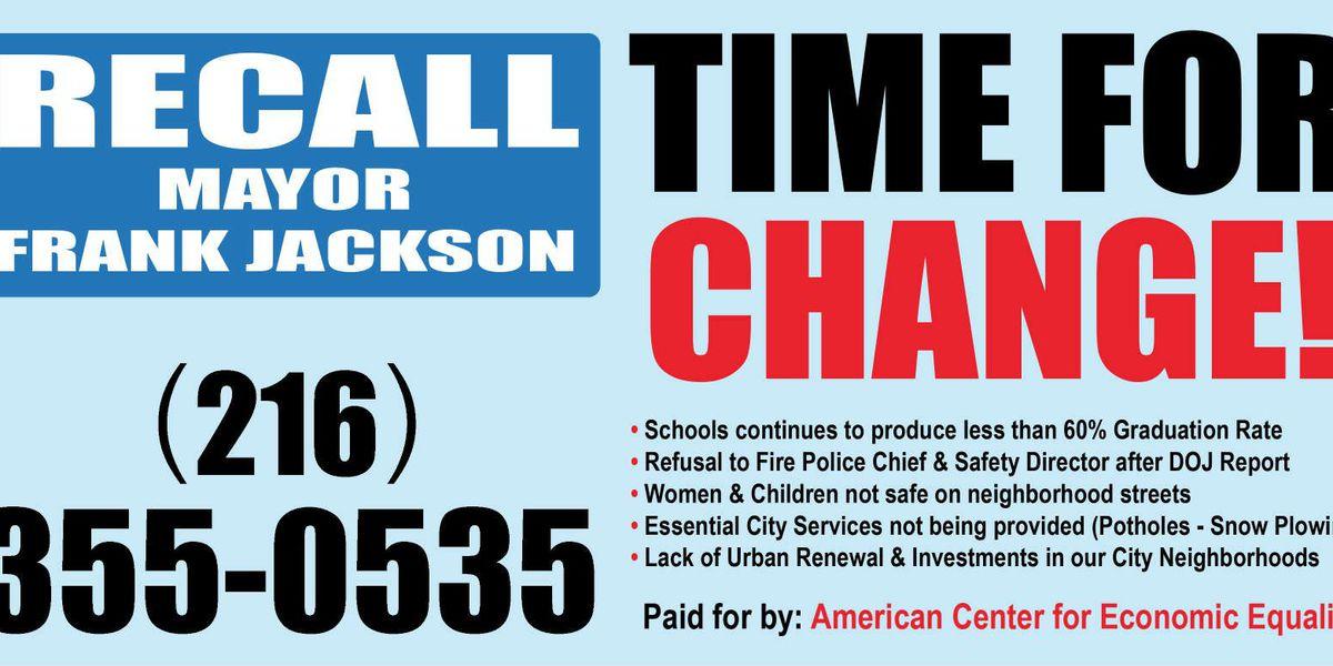 Billboards to recall Mayor Jackson going up around town