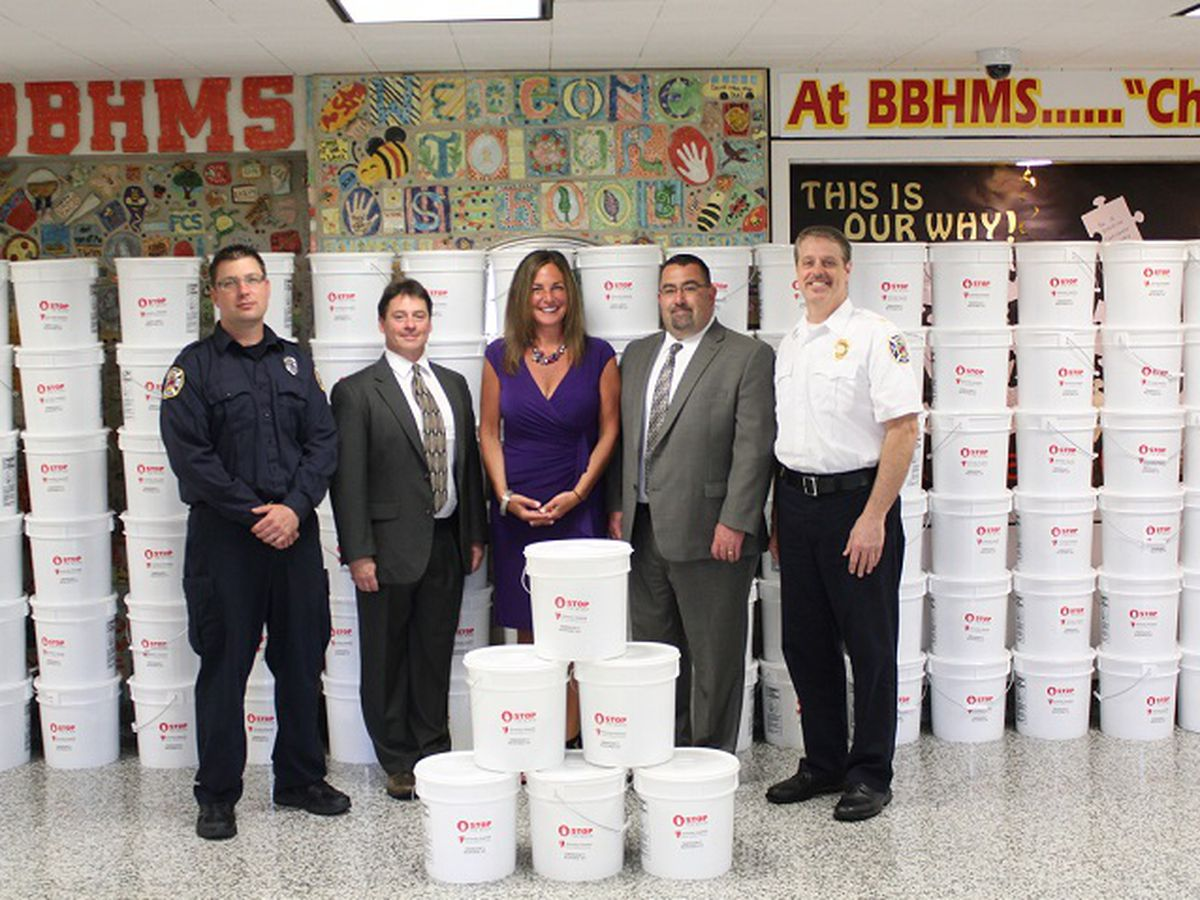 Brecksville-Broadview Heights City Schools receive 500 emergency buckets filled with life-saving supplies