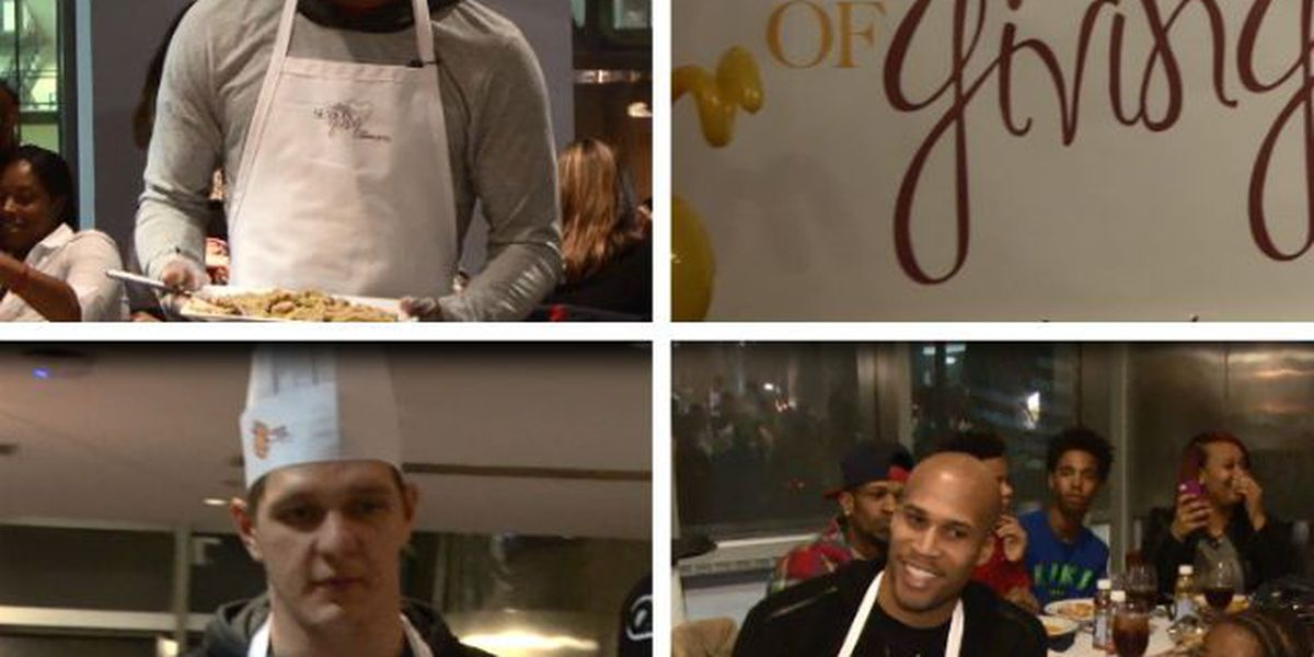 Cavs players help serve Thanksgiving dinners, turkey