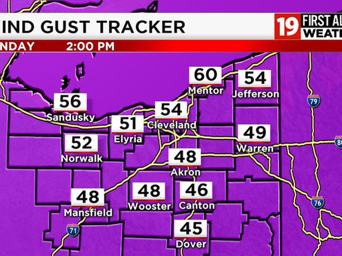 19 First Alert Weather Day for Monday: Wind gusts over 45 miles per hour could lead to power outages, wind damage