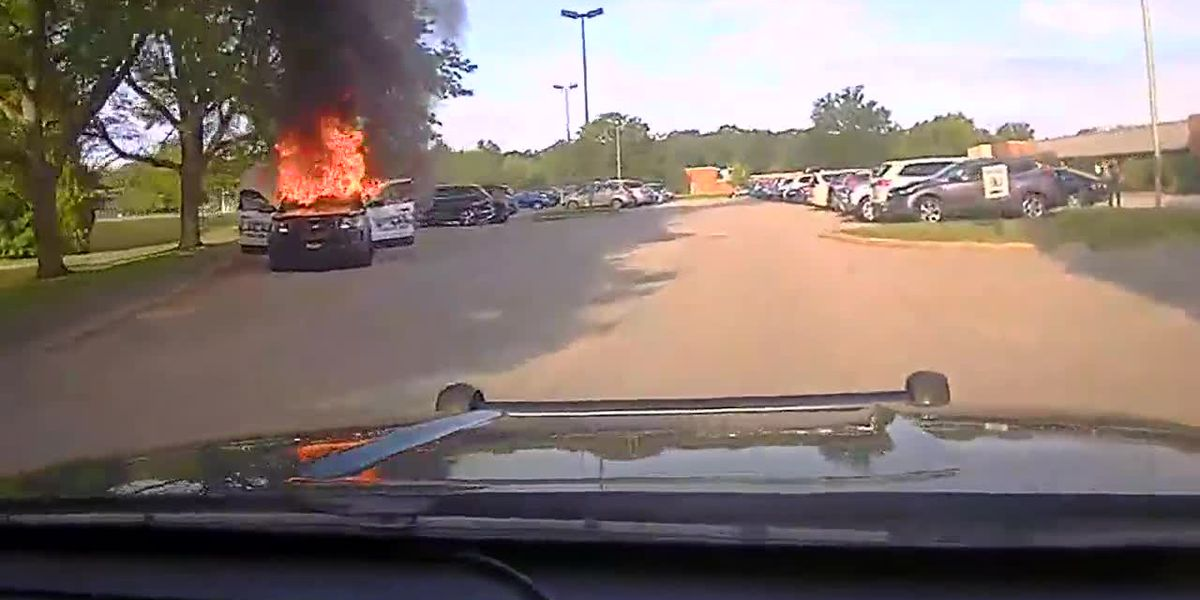 Ammunition starts 'exploding' after Solon police cruiser catches on fire (video)
