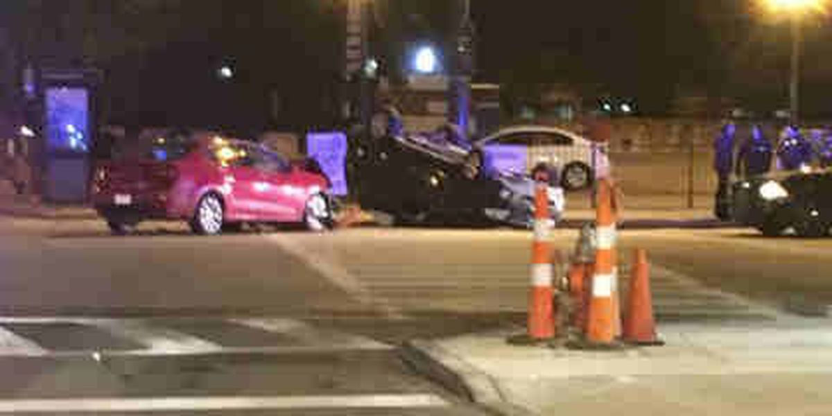 Crash flips car in downtown Cleveland