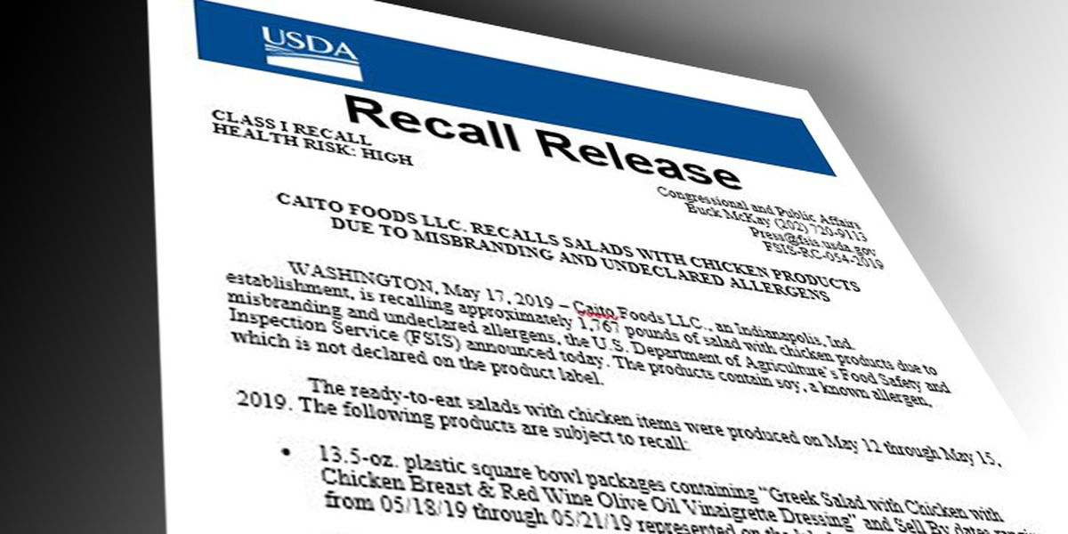 Indiana business recalling 1,767 pounds of salad with chicken products