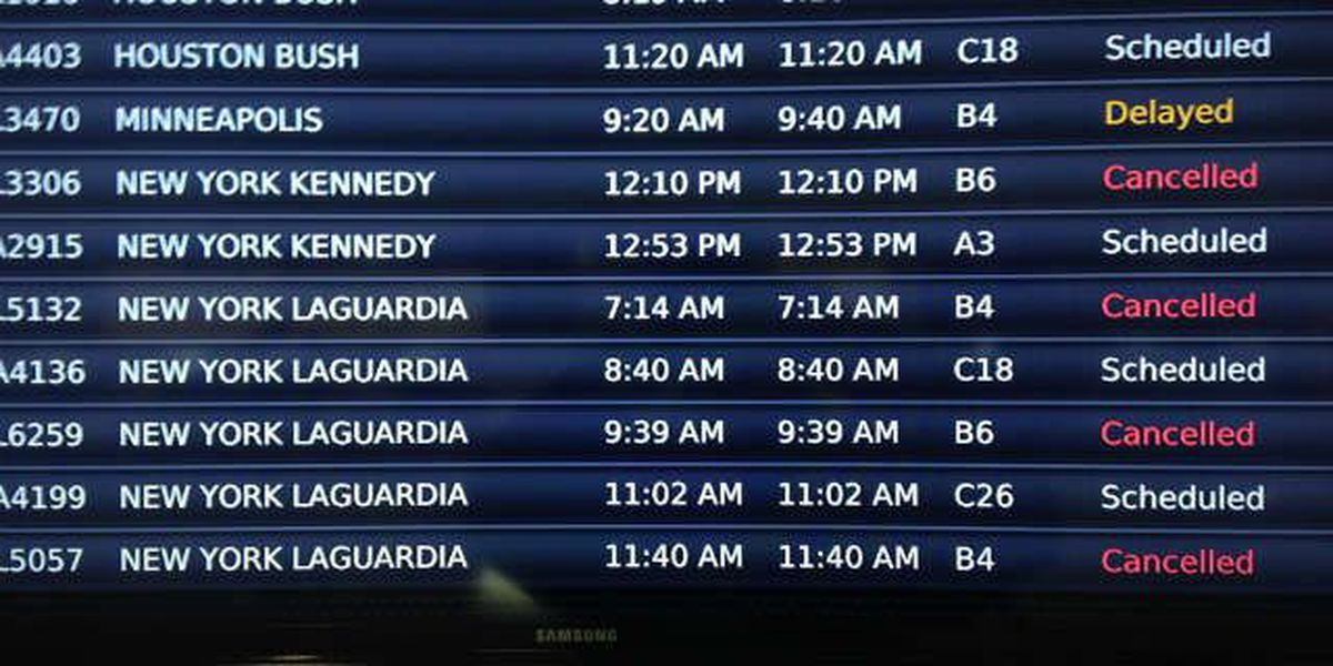 Canceled flights due to East Coast winter storm