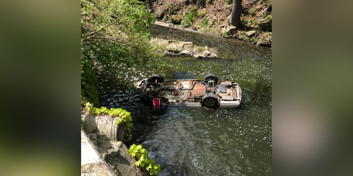 Akron firefighters rescue car from canal