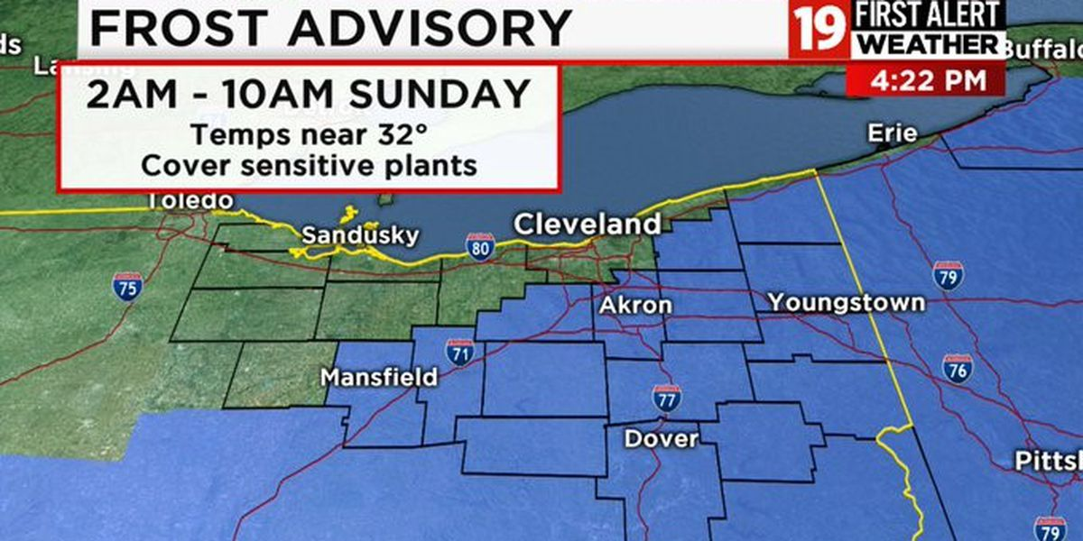Northeast Ohio Weather: Inland Frost Sunday morning