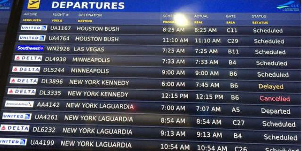 Weather forcing flight delays and cancellations