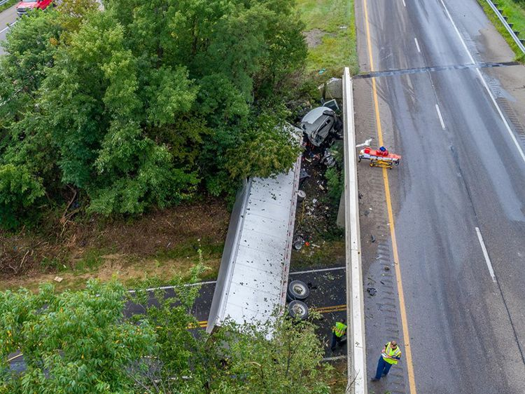 Canton City fire department reopens I-77 southbound after semi-trailer crash spills fuel onto highway