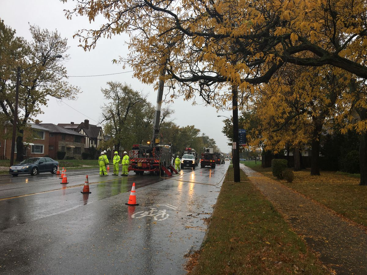 Downed power lines close stretch of busy thoroughfare in Euclid