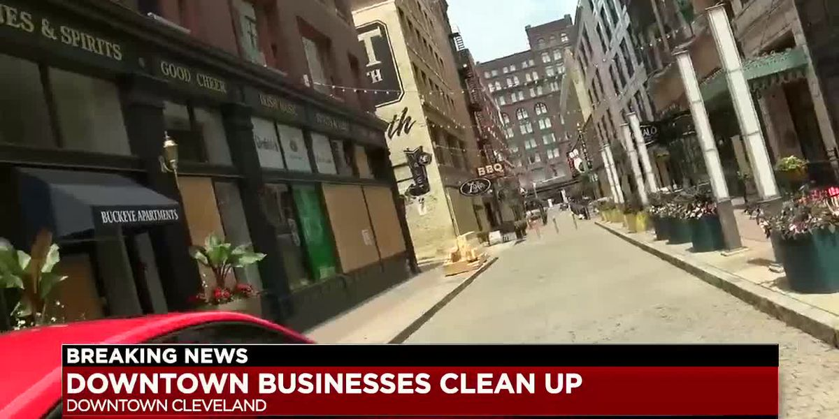 Weary business owners continue downtown Cleveland cleanup