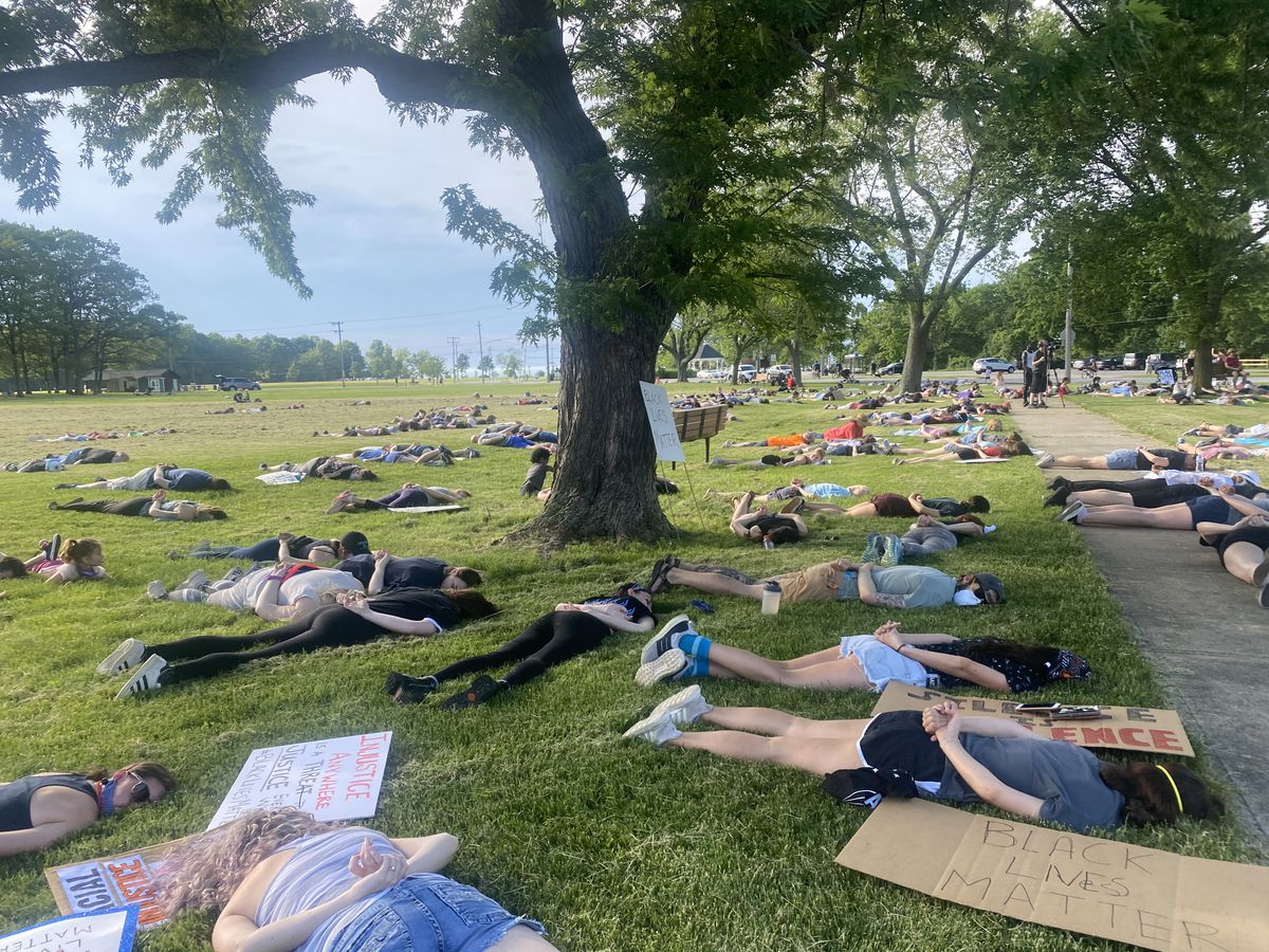 Bay Village protesters lay face down for 9 minutes in tribute to George Floyd