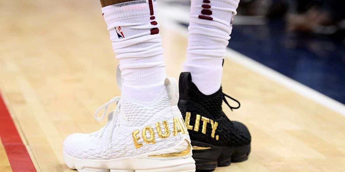 LeBron makes statement with 1 black, 1 white 'equality' shoe