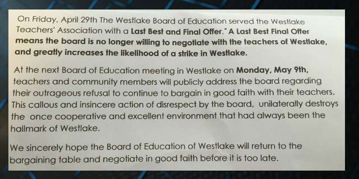 Westlake Teachers Association: 'We do not want to strike, but we will'