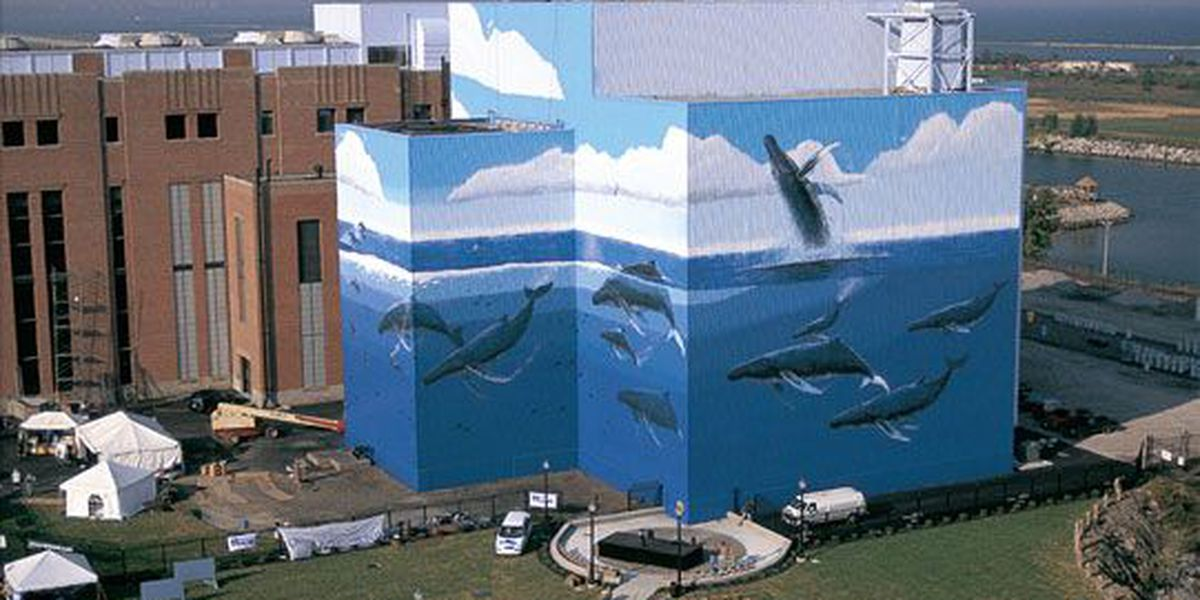 Why are there whales painted on that Cleveland building on Lake Erie's coast?
