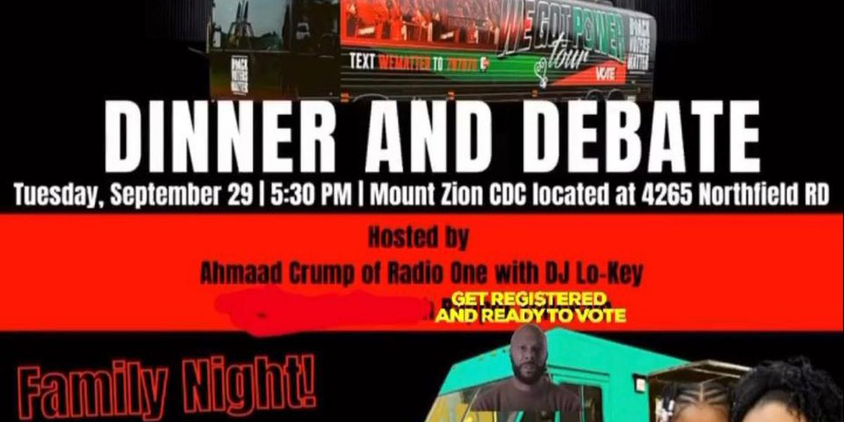 'Dinner and Debate' event urging people to exercise their voting rights
