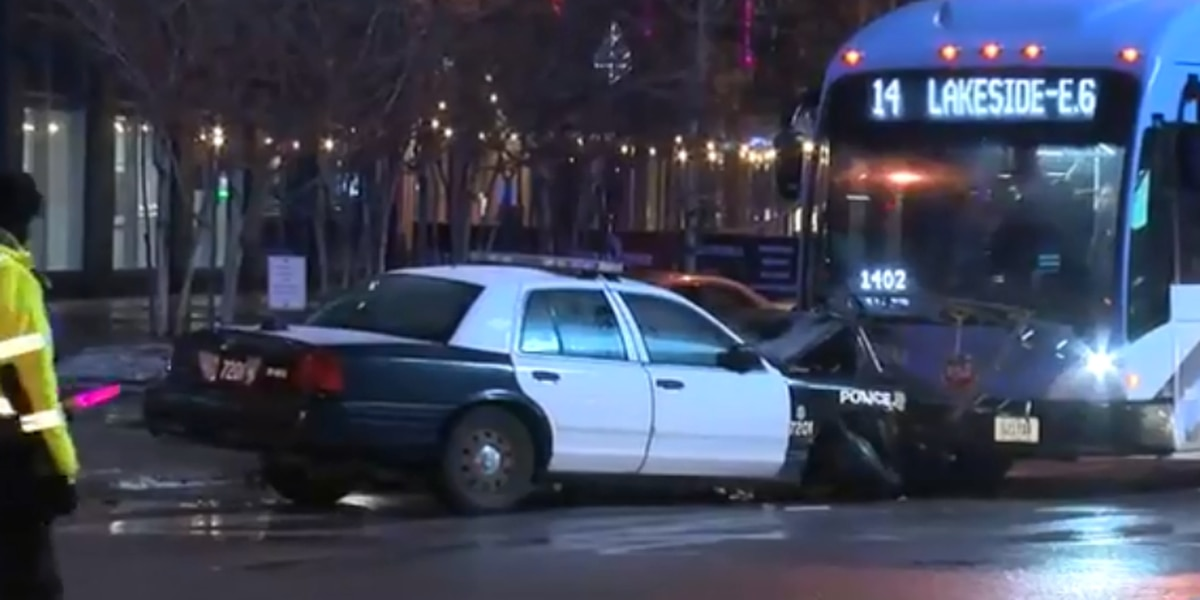 Cleveland policeman drives cruiser into RTA bus, cars and pedestrian, snarling traffic downtown