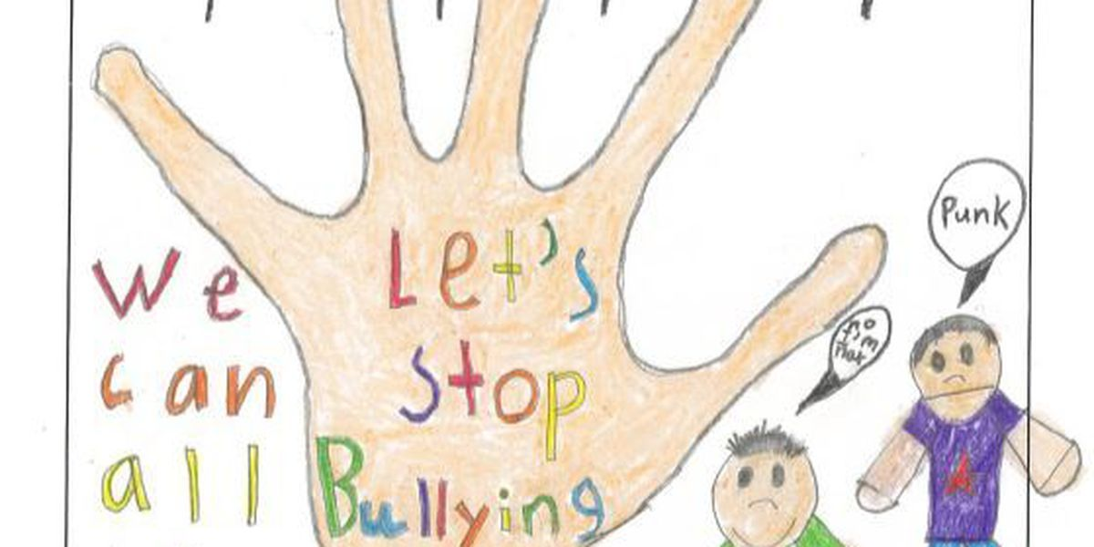 A visual slideshow of children showing they are '2 Strong 4 Bullies' (photos)