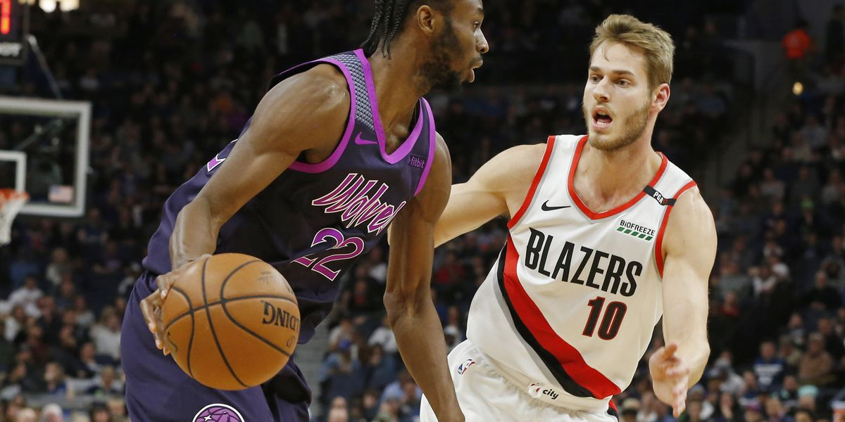 b048bf853a9 Wolves beat Blazers for 3rd straight win since Butler trade