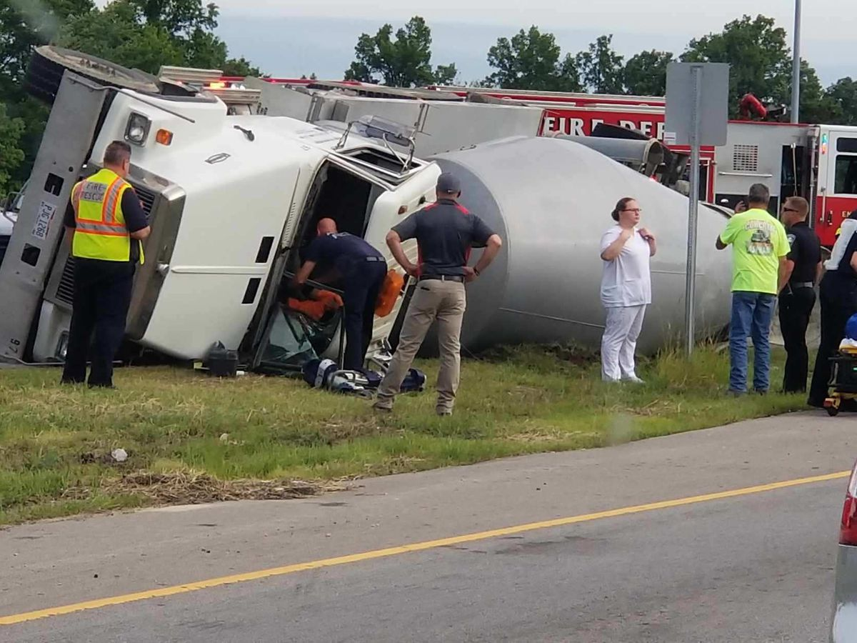 Cement truck turns over in Avon on State Route 83 at I-90