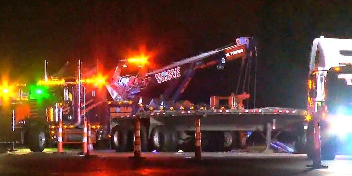 71 SB semi accident cleared, driver fell asleep