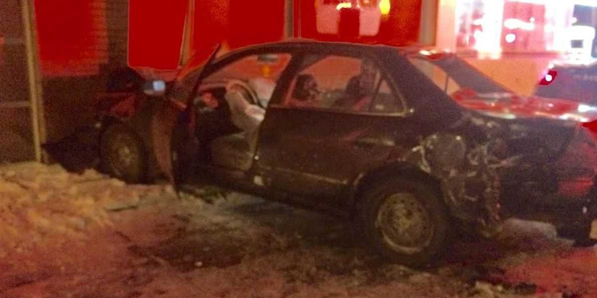 Driver crashes into Cleveland gas station following multi-car accident; injury reported