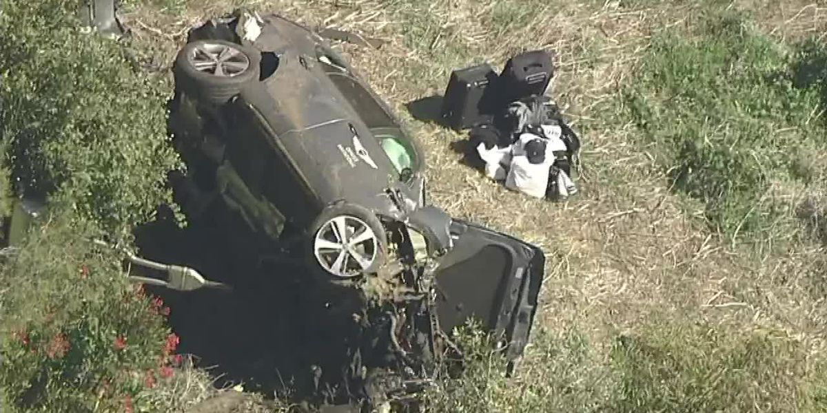 Aerials where Tiger Woods was injured in a single vehicle roll-over traffic collision