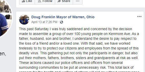 Warren mayor says large vigil to honor murder victim was unacceptable given coronavirus threat