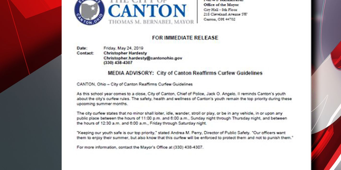 Canton Police remind young people there is a curfew in effect