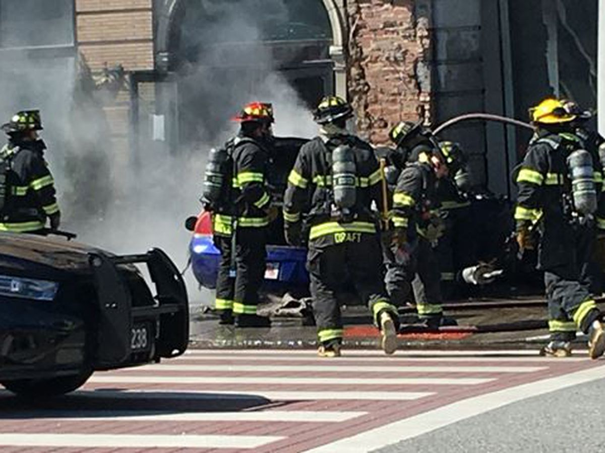 Driver dies after car catches fire from crashing into former Ohio City Galley building in Cleveland