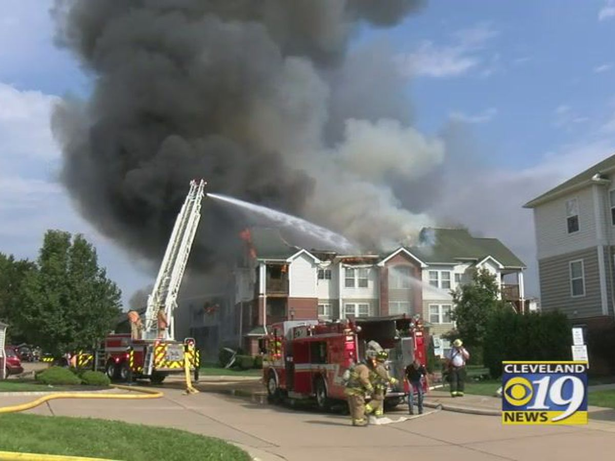 Flames, thick smoke pour from Olmsted Falls condo fire