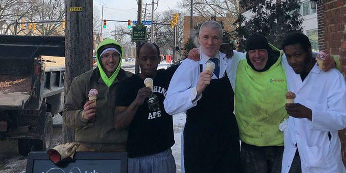 It's below zero and Edwins Butcher Shop is giving away free ice cream
