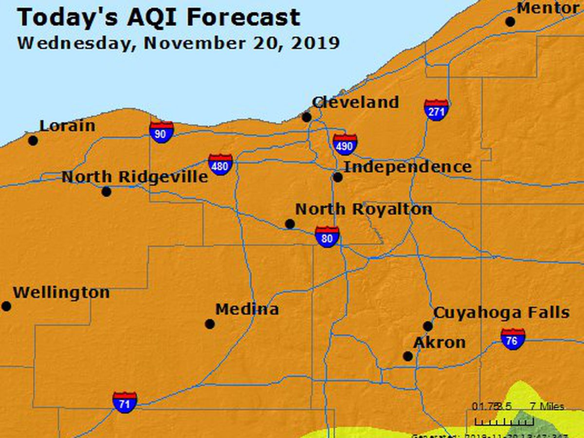 Pollutants trigger 'unhealthy' air quality alert for much of Northeast Ohio