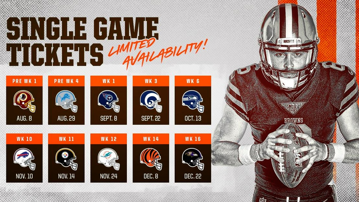 Cleveland Browns single game tickets on sale Monday