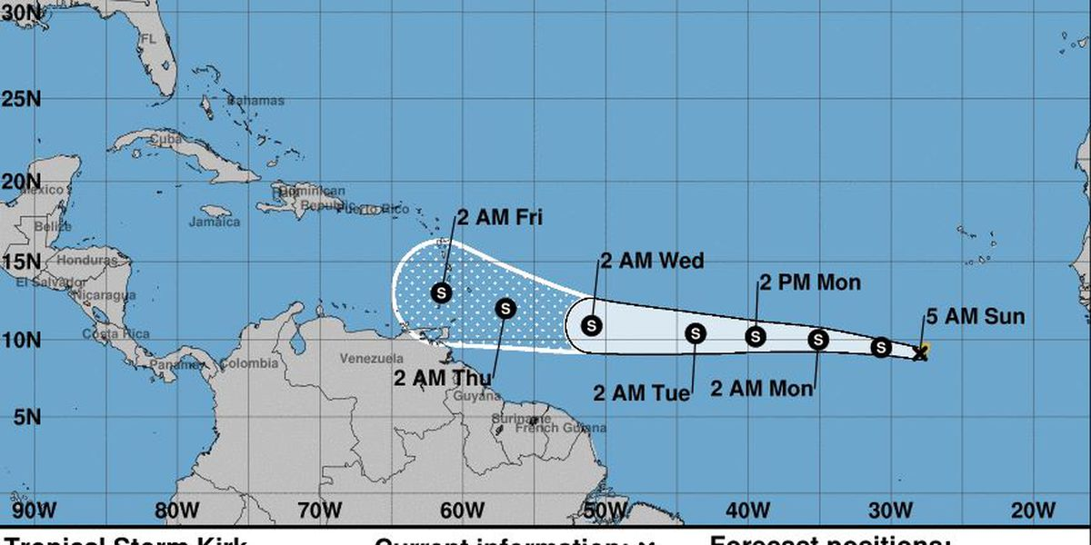 Tropical Storm Kirk forms off African coast