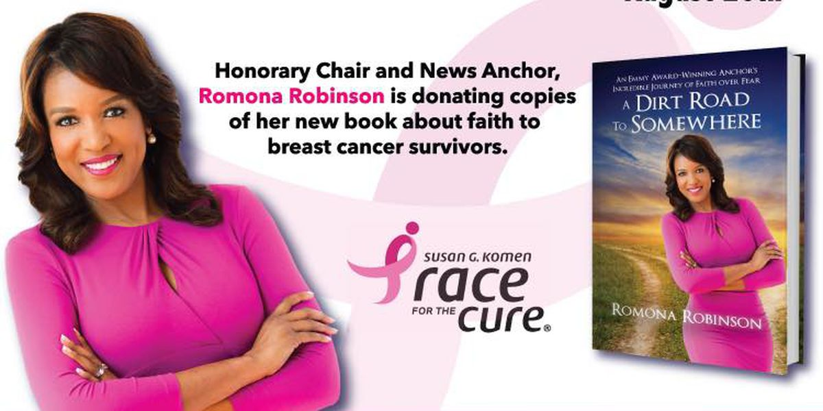 Romona Robinson donating her new book to cancer survivors at Komen Race for the Cure