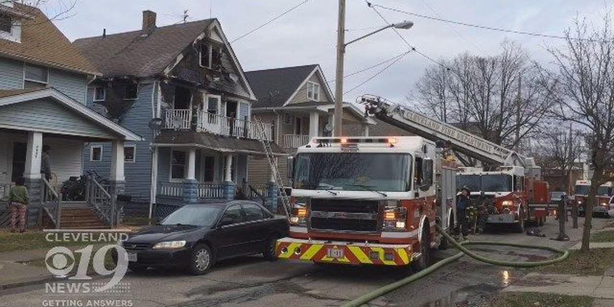 Cleveland house decorated with bullets catches fire