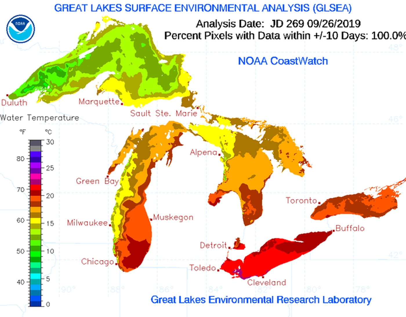 lake erie water temperature map Lake Erie Is About 5 Degrees Warmer Than Normal For This Time Of lake erie water temperature map