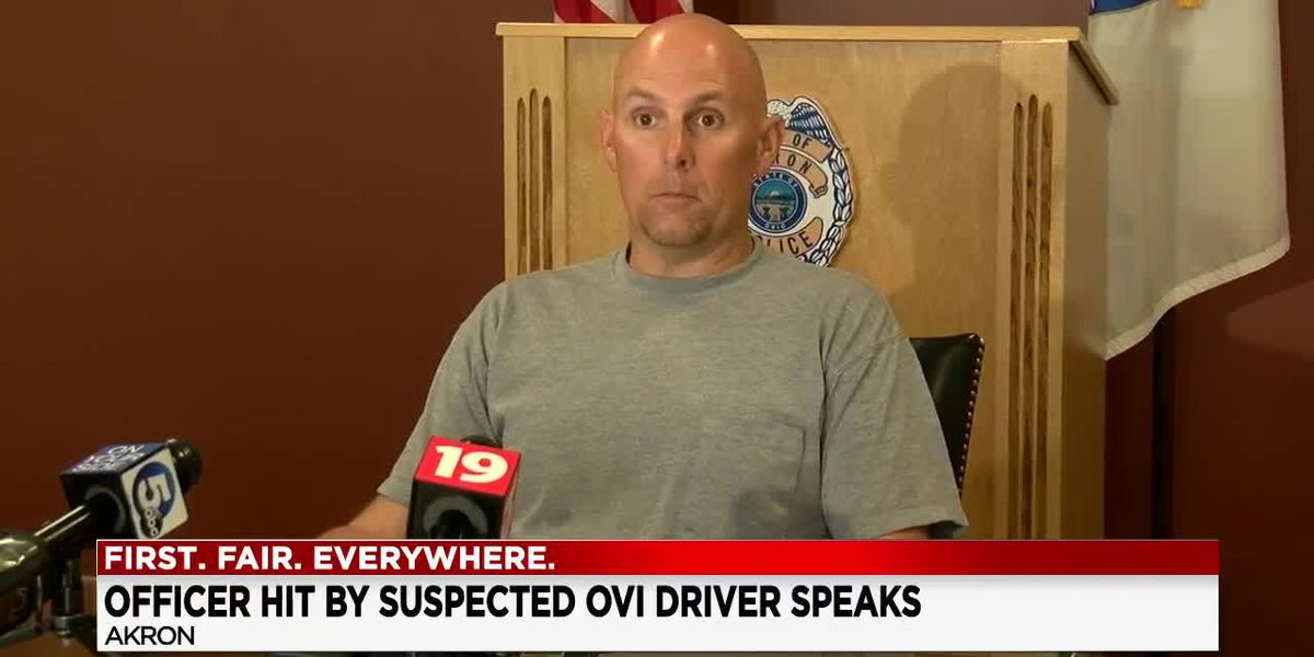 Akron motorcycle officer speaks for first time since being struck by suspected drunken driver