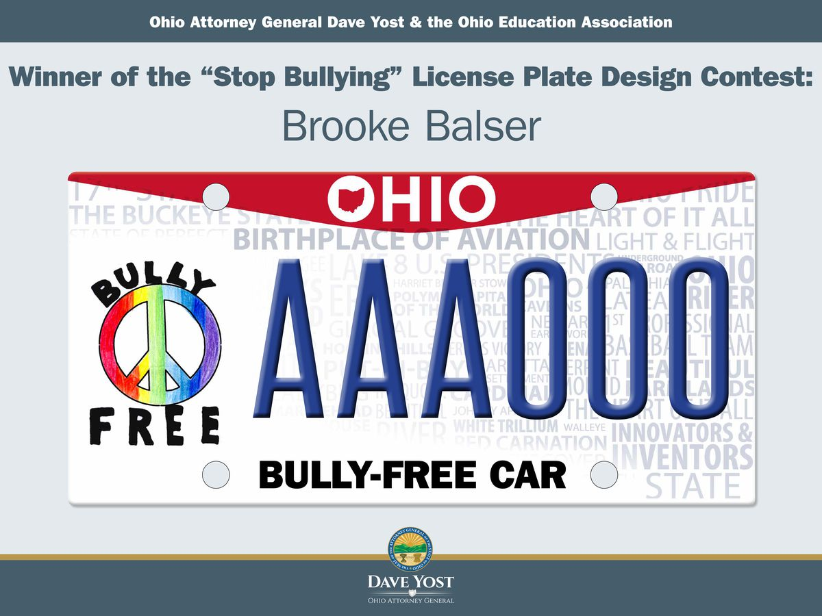 Independence student wins 'Stop Bullying' license plate design contest