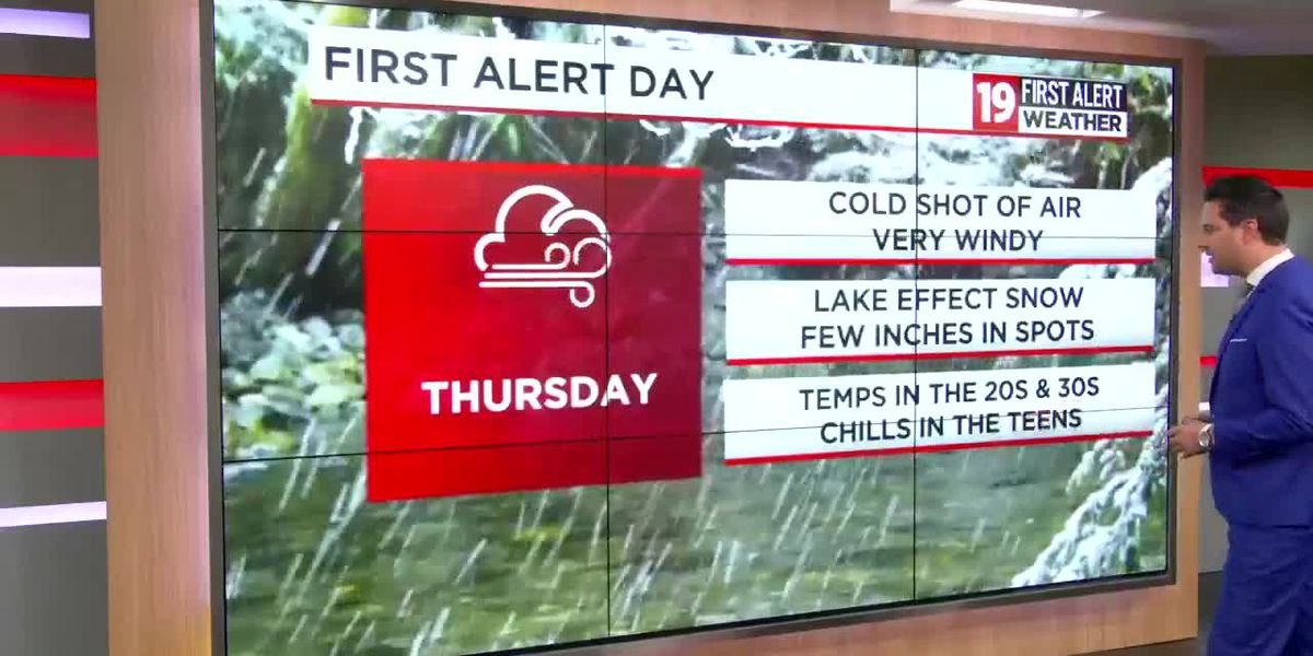 19 First Alert Weather Day issued for Thursday: Lake effect snow and gusty winds on the way
