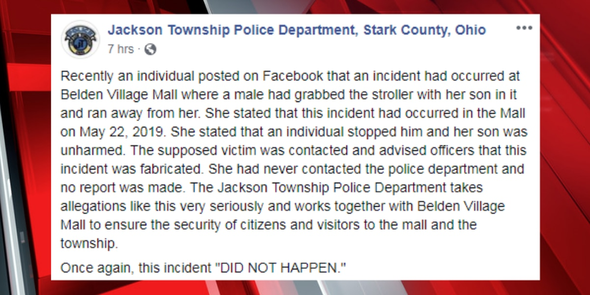 Jackson Township police: fabricated story of attempted abduction at mall posted online 'did not happen'