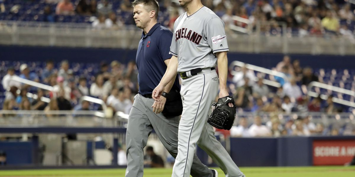 Indians' Kluber fractures arm after getting hit with 102 mph line drive on mound