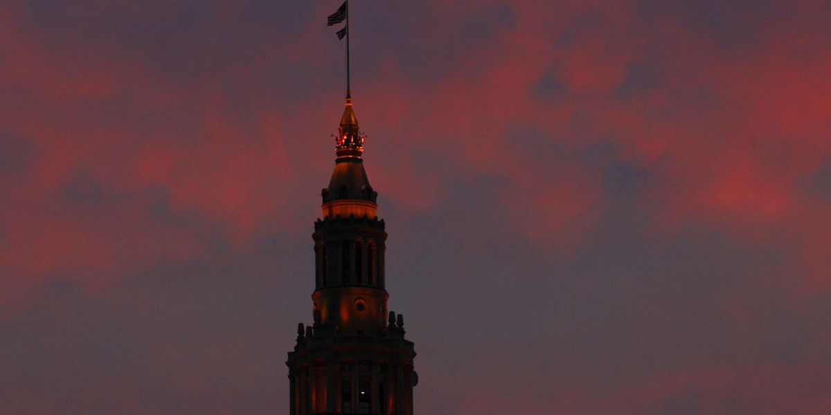 Terminal Tower will be lit with each team's colors during their time on the NFL Draft clock