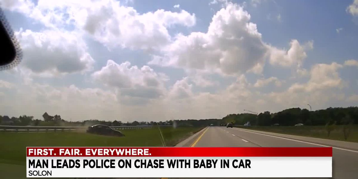 24-year-old man arrested after leading Solon police on high speed chase with 9-month-old baby in the car