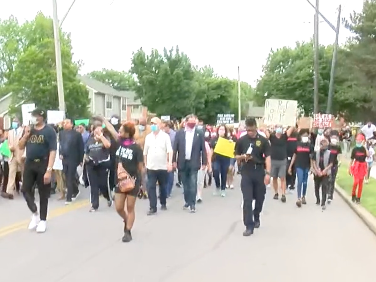 Hundreds of protesters gather in Cleveland's Hough neighborhood to stage peaceful rally in support of racial justice