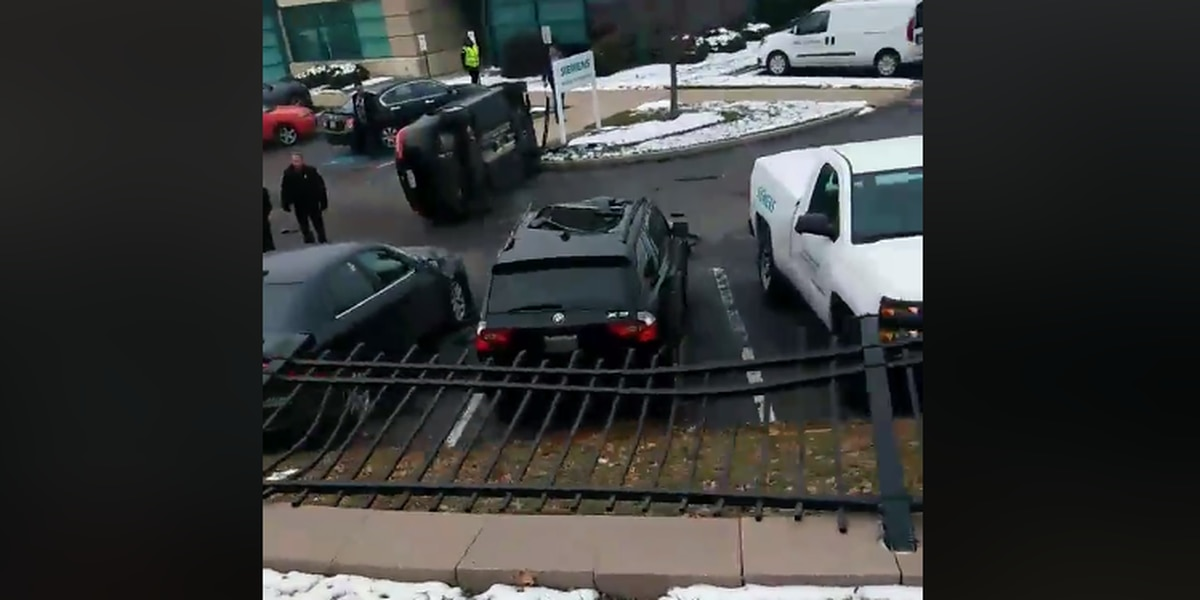 Mother, daughter miraculously unharmed after airborne car plummets into Garfield Heights parking lot (video)