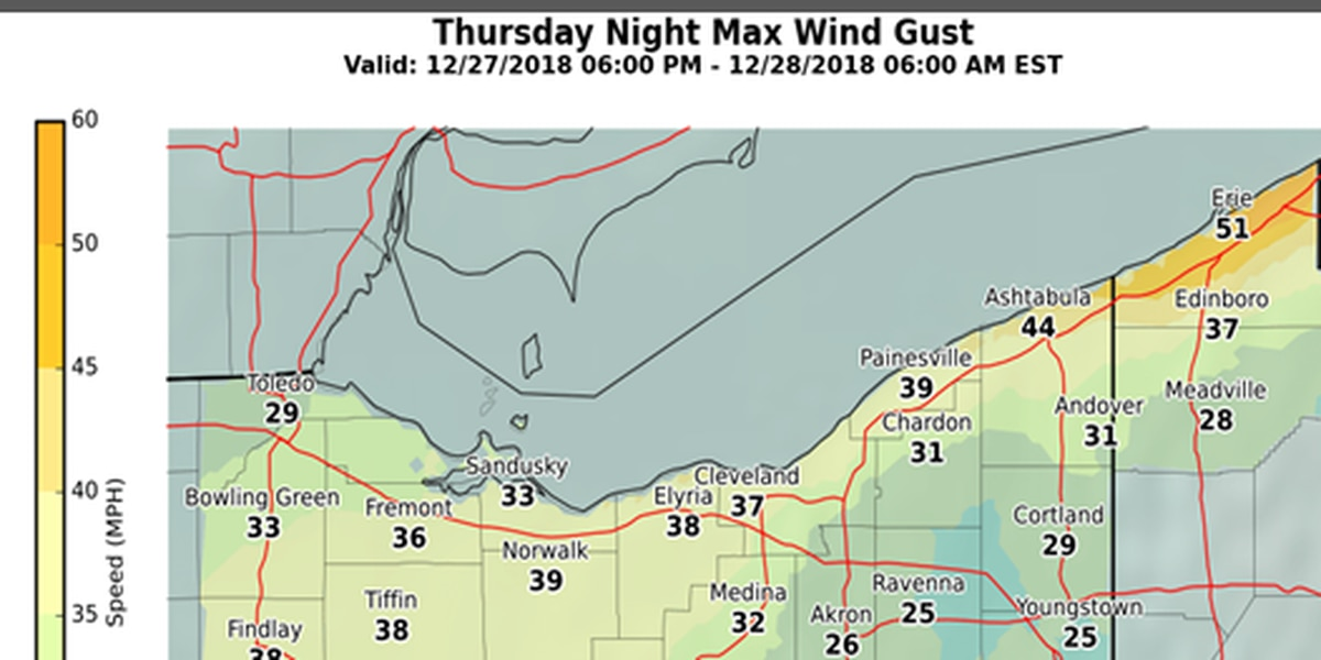 Wind gusts nearing 50 miles per hour to blow through Northeast Ohio; wind advisory issued