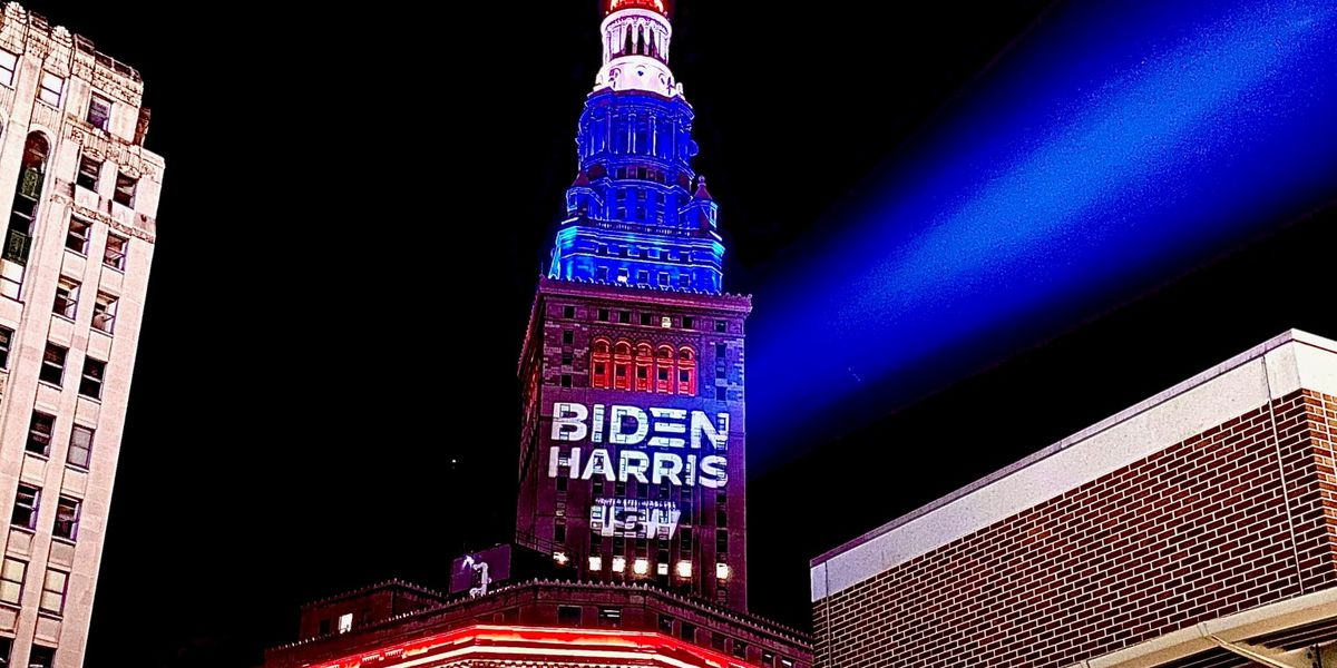 United Steelworkers project unauthorized Biden-Harris logo on Terminal Tower