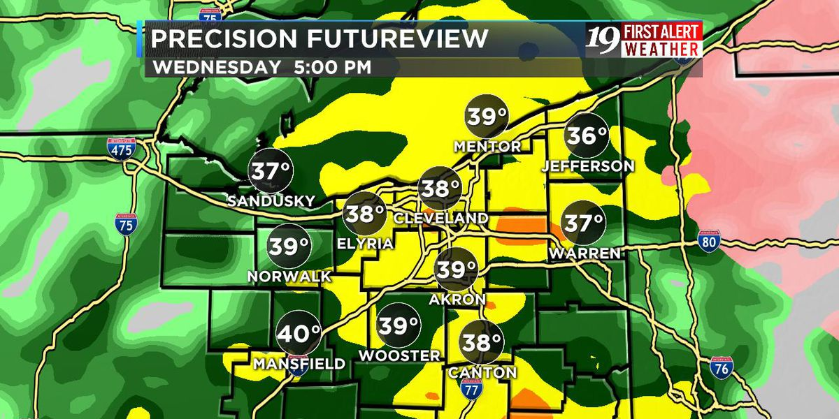 Northeast Ohio weather: Rain for the evening rush and evening plans